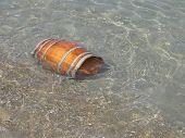 Wooden Barrel In The Sea