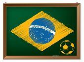 Brasil Flag And Soccerbal On Chalkboard