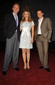 Dick Askin with Kyra Sedgwick and Jon Cryer at the 59th Primetime Emmy Awards Nominations Announceme