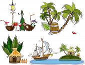 Travel to paradise, icons, set of backgrounds