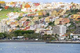 stock photo of sloop  - The colorful houses of San Sebastian de La Gomera on the island Gomera - JPG