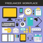 Freelancer workplace icons set