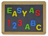 Easy as 123 ABC written on traditional school slate