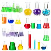 Collage of different laboratory glassware isolated on white