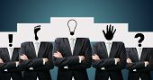 Businessman Standing White Paper Ideas Face Holding Front Of Head