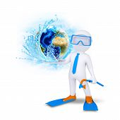 3d diver hold Earth with water splash