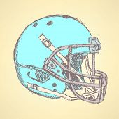 Sketch Football Helmet, Vector Vintage Background