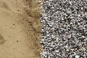 foto of sand gravel  - Sand and broken stone vertical background photo - JPG