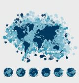 Collection of world map and modern globe. Vector Illustration.