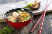 Miso Soup With Duck Breast Closeup.