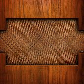 rattan background with wood frame