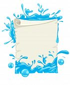 placard paper blank template with water splashes. Rasterized illustration.