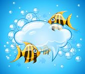 bubbles cloud in aquarium with gold fishes. Rasterized illustration.