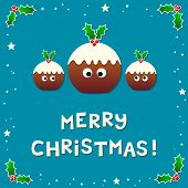 Cute Christmas Puddings Wishing A Merry Christmas