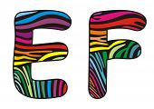 Background Skin Zebra Shaped Letter E,f.eps