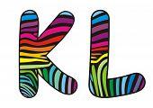 Background Skin Zebra Shaped Letter K,l.eps
