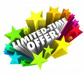 Limited Time Offer words 3d white letters colorful stars advertising a special savings deal