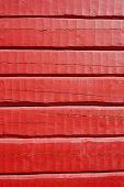 Red Painted, Hand Carved Log Wall, Texture Material.
