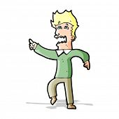 cartoon frightened man pointing