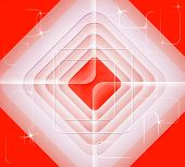 Abstract Pattern Of Concentric Squares On A Red Background