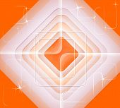 Abstract Pattern Of Concentric Squares On An Orange Background