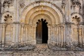 Full View Main Door Of Petit Palais Et Cornemp Romanesque Church, Gironde France