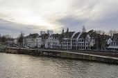Panorama Of Maastricht, Netherlands In Cloudy Calm Winter Day