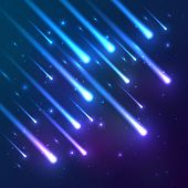 Blue falling stars vector background