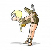 foto of valkyrie  - cartoon viking girl bowing - JPG
