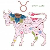 picture of taurus  - vector illustration of Taurus vintage zodiac sign eps 10 - JPG