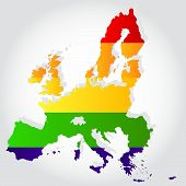 Rainbow Flag In Contour Of European Union