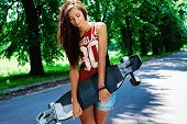 urban girl with longboard