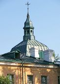 stock photo of cupola  - A dark green cupola of an old building - JPG