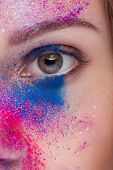 Close Up Shot Of An Eye With Fashion Make Up