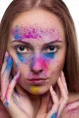Gorgeous Young Girl With Colour Powder On Face