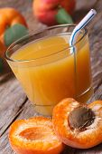 Apricot Nectar With Fruit Halves Closeup Vertical
