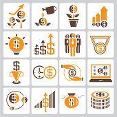 investment icons, orange color theme