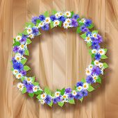 Flowers Vector Wreath Greeting Card