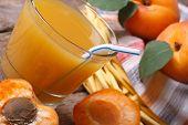 Apricot Juice With Fruit Halves Closeup Horizontal