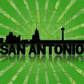 San Antonio skyline reflected with green dollars sunburst illustration