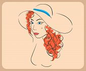 Handdrawn woman wearing wavy red hair and hat. close-up illustration - paths outlined.