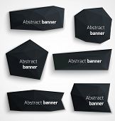 Set of abstract black banners, modern style design labels or bubbles