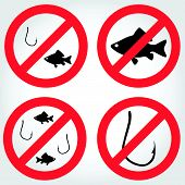 No Fishing Vector Icons