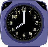 Modern violet alarm clock with two buttons
