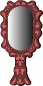 Oval mirror in a wooden frame of brown color