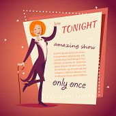 Circus Show Host Lady Girl in Suit with Cane Icon on Stylish Background Retro Cartoon Design Vector