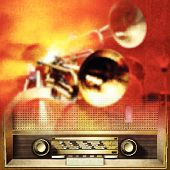 Abstract Background With Retro Radio And Musical Instruments