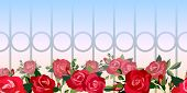 Horizontal seamless pattern of red roses