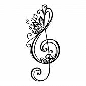 Vector Floral Decorative Treble Clef