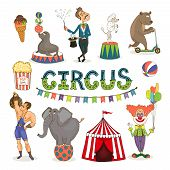 stock photo of circus clown  - Colorful vector circus  funfair and fairground icon set with an ice cream   balancing seal  poodle and elephant  magician  bear  popcorn  strongman  big top and clown with text  - JPG